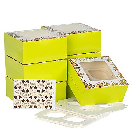 Accevo [15 Pezzi] scatole per dolci [16 * 16 * 7.5cm] [Viene fornito con simpatici adesivi] scatole cartone con coperchio, porta biscotti, scatoline cartone
