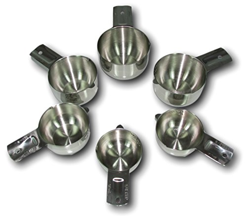 ChefsGrade Stainless Steel Measuring Cups - Highly Polished Exterior, Satin Interior, 6...