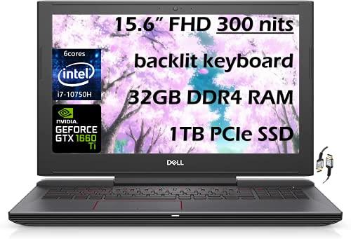 "Dell G5 Powerful Gaming Laptop, 15.6"" FHD 120Hz Display, Intel 6-Core i7-10750H, GeForce GTX 1660 Ti 6GB, 32GB DDR4 RAM, 1TB SSD, USB-C, RGB KB, HDMI, WiFi 6, Win 10 W/ES Accessories"