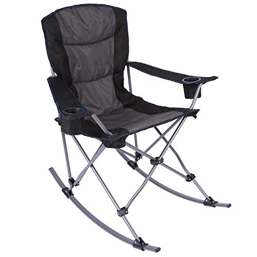 CAMPMOON Outdoor Rocking Chair Folding, Sturdy Heavy Duty Rocking Patio Lawn Chair for Adults, Comfortable with High Back, Black Padded