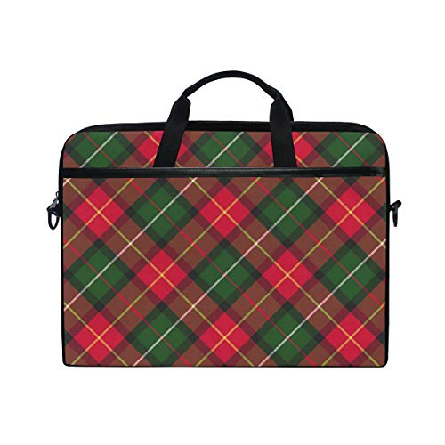 EZIOLY Christmas Plaid Checked Laptop Shoulder Messenger Bag Case Sleeve for 14 Inch to 15.4 inch Laptop