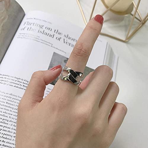 SBDLXY Anillo para Mujer niña Vintage Plata de Ley 925 Tejido Hueco Abertura Cruzada Anillo de Dedo Ajustable Compromiso romántico Regalo Femenino Dorado