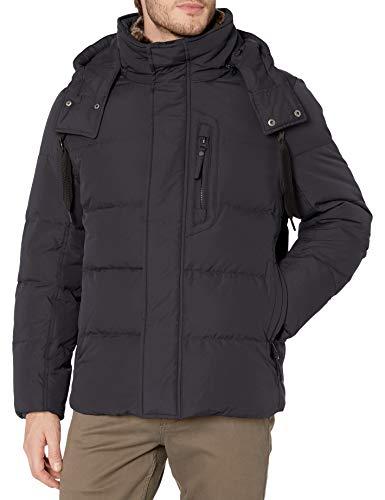 Aofur Mens Winter Warm Thick Faux Fur Slim Trench Coat Long Jacket Parka Hooded Pea Coat Winter Coat S-XXXL (Small, Black)