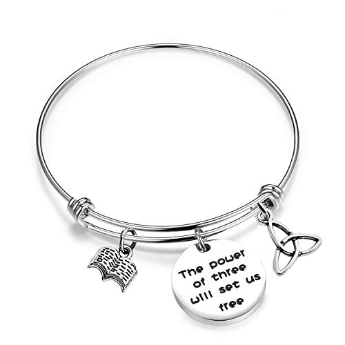 SEIRAA The Power of Three Jewelry Triquetra Bracelet Book Charm Wire Bangle Witches Jewelry Inspirational Gift (The Power of Three)