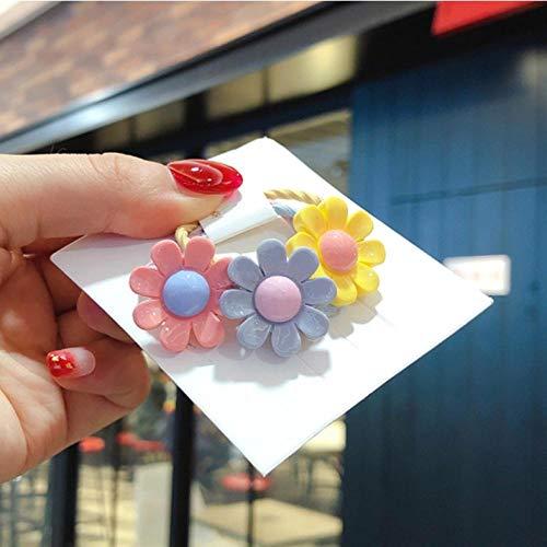 Empty 3 stuks / set schattige cartoon flower scrunchies elastieken meisjes mooie haarbanden hoofddeksels kinderen haaraccessoires