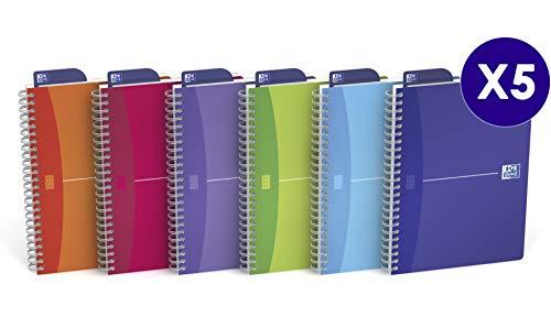 Cuaderno Oxford My colours A4 cuadrícula 5x5 90 hojas,  5 unidades