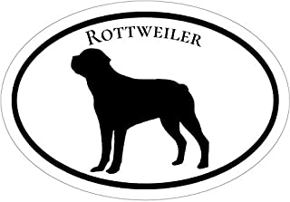 WickedGoodz Oval Rottweiler Dog Vinyl Decal - Dog Bumper Sticker - Perfect for Windows Cars Tumblers Laptops Lockers