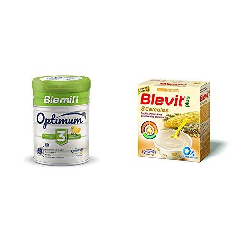Blemil Plus Optimum 3, Leche de crecimiento para bebé - Pack de 2 x 800 g - Total: 1600 g + Blevit Plus 8 Cereales para bebé - Pack de 2 x 500 g - Total: 1000 g