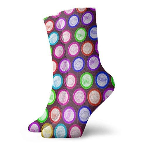 Kevin-Shop Kleurrijke condoom mode korte crew sokken Athletic Ankle Dress Sock One Size voor mannen vrouwen