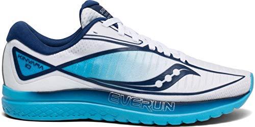 Saucony Women's S10467-3 Kinvara 10 Running Shoe, White | Blue - 9 M US