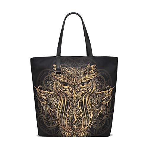 BKEOY Große Damen Handtasche Schultertasche Boho Maskottchen Eulen Tote Shopper Organizer Taschen