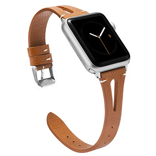 Wearlizer Brown Leather Strap Compatible with Apple Watch Strap 38mm 40mm iWatch Womens Mens Special Triangle Hole Sport Straps Wristband Cool Replacement Bracelet Series 5 4 3 2 1