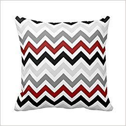 yting Housse de Coussin décorative taie d'oreiller en Coton Rouge Noir Gris Blanc Zig Zag: 61 18\