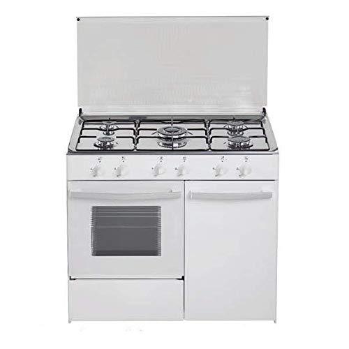 Cocina de gas butano/natural HVG CGB, 5 quemadores, Horno, acabado blanco