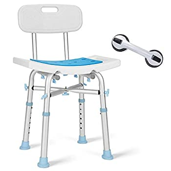 OasisSpace Heavy Duty Shower Chair with Back 500lb EVA Padded Bath Seat with Free Assist Grab Bar - Medical Tool Free Anti-Slip Shower Bench Bathtub Stool for Elderly Senior Handicap & Disabled