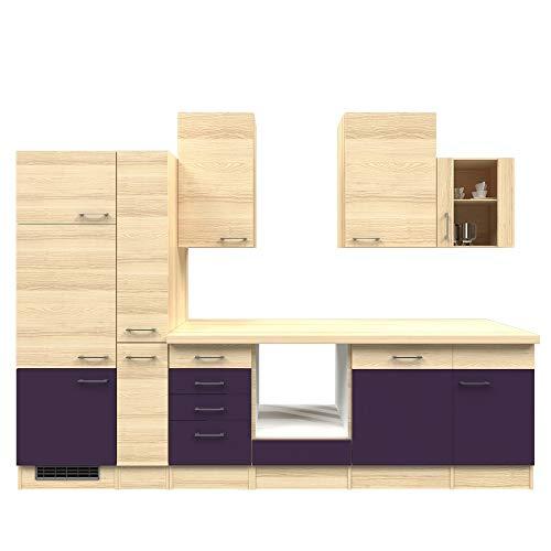 Smart Möbel Küchenzeile 310 cm Aubergine/Akazie ohne Geräte - Otto