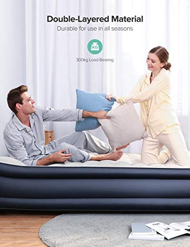 Sable Queen Air Mattresses with Built-in Electric Pump Queen Size Inflatable Air Bed, Comfortable for Camping Travelling or Overnight Guests with Storage Bag, Height 17'