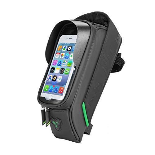 HJSW Bolsa Bicicleta Montaña Cuadro Impermeable, Soporte Manillar Móvil Bicicletas Accesorios Mochila Bicletas Frame Bag para iPhone 12/11/Max/Mini/Pro/XS Max/XR/X/7/8 Plus, 4.0''~6.0'' Teléfono