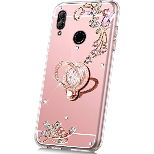 JAWSEU Compatibel met Huawei P Smart 2019 Hoes spiegel glanzend roze goud
