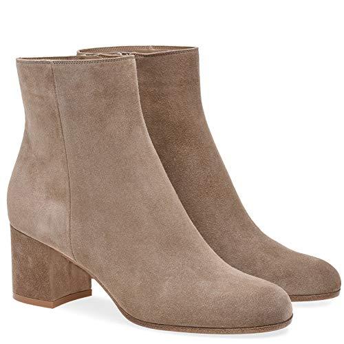 YMN vrouwen dikke hak laarzen, ronde hoofd enkellaarzen comfortabele dames 5 cm hak, geschenken voor vriendinnen en moeder (bruin)