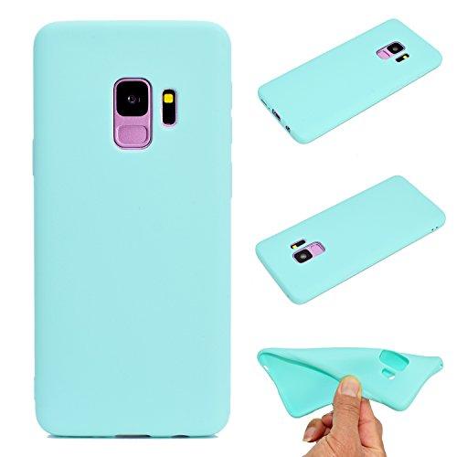 LeviDo Coque Compatible pour Samsung Galaxy S9 Étui Silicone Souple Bumper Antichoc TPU Gel Ultra Fine Mince Caoutchouc Bonbons Couleurs Design Etui Cover, Bleu Vert
