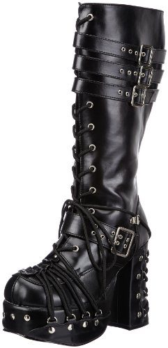 Demonia CHARADE-206 Damen Stiefel, Schwarz (Blk Vegan Leather), EU 40 (UK 7) (US 10)