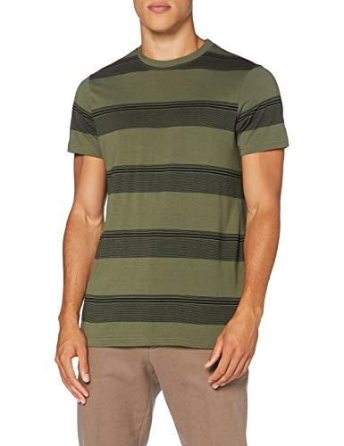 FIND Camiseta de Rayas Hombre, Verde (Khaki Base And Black Stripe), 48 (Talla del fabricante: Small)