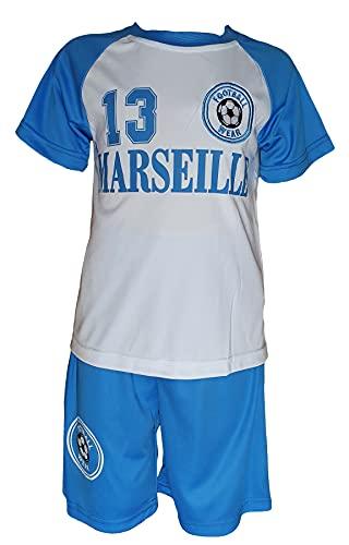 Generic Kinder Jungen Sommer Set Marseille Trikot Set Shorts Kurz Hose Fußball Fan Set (140)