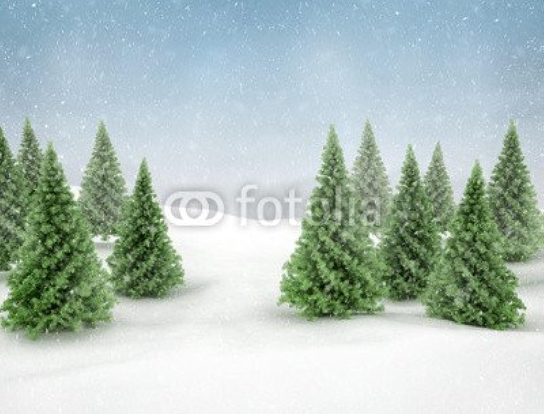 Adrium Winter Scene Snow and verde Pine Trees (73910321), Lino, verde, 50 x 40 cm