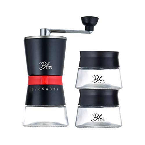 BLUE BREW BB1007 Artisan Coffee Grinder with Conical Ceramic Burr and Two Airtight Glass Jars, 2.2 fl oz, Black