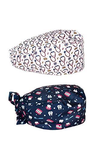 WEARK Verpakking (2 stuks) chirurgische mutsen voor dames, heren, verpleegsters, tandartsen, lang haar (steunbodem)