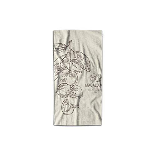 Moslion Macadamia Handtücher, 76 x 38 cm, Zweig-Müsse, Kosmetik, medizinische Pflanze, handgezeichnete, gesunde natürliche Handtücher, Küchenhandtücher für Badezimmer, weiche Polyester-Mikrofaser