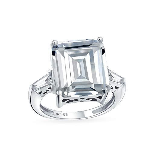 Art Deco Style 925 Sterling Silver 7CT Rectangle AAA CZ Anillo De Compromiso Con Declaración De Corte Esmeralda