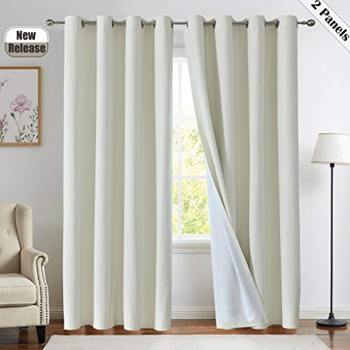 """Ivory Blackout Curtain for Bedroom, 100% Light Blocking Three Layers Thermal Insulated Grommets Top Window Drapes for Living Room, Nursury 52""""x84"""", Set of 2,Cream"""