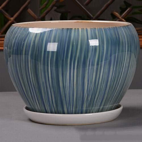 RRFZ Vaso per fioriera Tondo Extra Grande in Ceramica per Fiori da Giardino Pianta di Cactus con Foro di Scarico e piattino da Piccolo a Medio Grande Rotondo in Ceramica Moderna G (Vaso