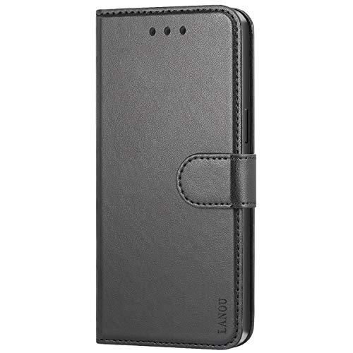 LANOU Handyhülle für Samsung Galaxy S5 Hülle Leder Tasche Schutzhülle (Schwarz)