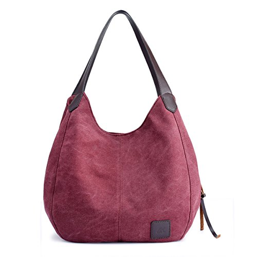 Hiigoo Fashion Women's Multi-pocket Cotton Canvas Handbags Shoulder Bags Totes Purses (Red)