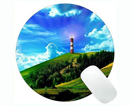Yanteng Tappetino per Mouse Rotondo, tappetini per Mouse da Gioco Lighthouse at Night