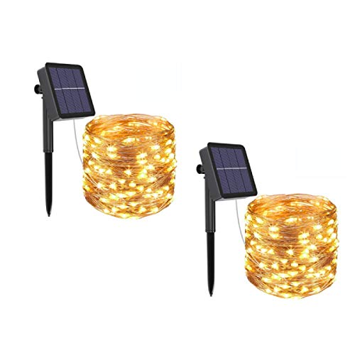 [2 Pieces] Fairy Tale Light String, 120led 12m / 40ft Waterproof Solar Garden Outdoor/Indoor Copper String Light, Suitable for Bedroom, Party, Wedding, Halloween/Christmas Decoration (Warm White)