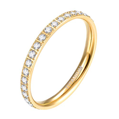 Mabohity Ring Damen 2mm Titan-Ring mit Zirkonia Titanium Ewigkeit Ehering Verlobungsring Freundschaftsring Hochzeit Ringe, Gold, Größe 52