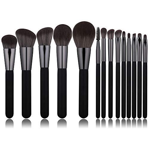 LFANH Pinceau De Maquillage Professionnel, Contour Brosses Outils De Maquillage Doux pour Sourcils, Fard À Paupières, Correcteur, Fondation, Cils (14Pcs)