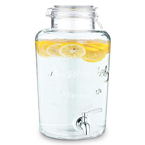 Navaris Dispensador de Bebidas con Grifo 8L - Recipiente de Vidrio con Tapa y Cierre Giratorio de Acero Inoxidable - Agua Jugo Vino Sangria