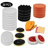 Hengda 28pcs Esponjas de pulido Auto Set para pulir atornillador inalámbrico M14 taladro adaptador con guantes y paño de fibra