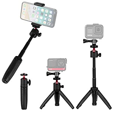 Taisioner Mini Selfie Stick Tripod Handle Grip Three in One for GoPro AKASO OSMO Action Camera Cell Phone and InterchangeableLensDigitalCamera for Vlog from Taisioner