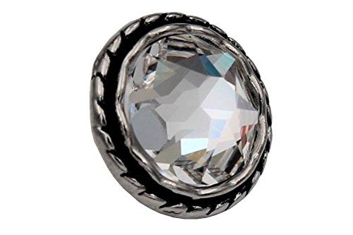 traumhafte schöne Silber Metall Knöpfe mit einem großen, echten Swarovski Kristall Stein Glitzer Strass Ösenknöpfe 15mm 3 Stück