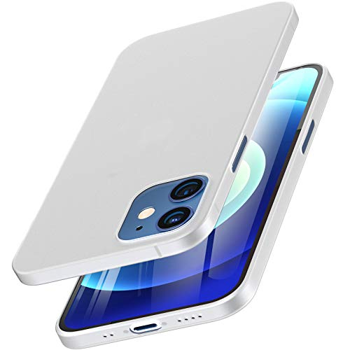 TOZO Compatible for iPhone 12 Mini Case 5.4 inch Hard Cover 0.35mm World's Thinnest Protect Bumper Shell Semi Transparent Light Weight Thin Cover with Matte White
