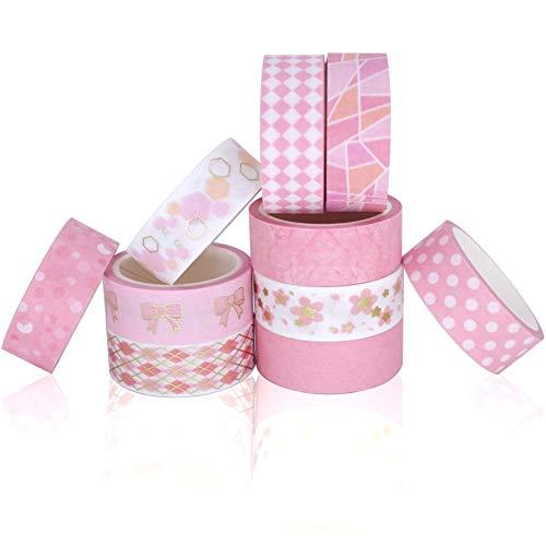 InnoBeta Washi Tape Set, Masking Tape, Buntes Klebeband 10 Rollen Washi Tape Rosa Rosegold Gold Dekoratives DIY Handwerk wiederverwendbares...
