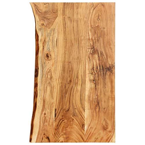 vidaXL Akazienholz Massiv Waschtischplatte Badezimmer Waschtisch Waschtischkonsole Platte Holzplatte für Aufsatzbecken Badmöbel Baumkante 100x55x3,8cm