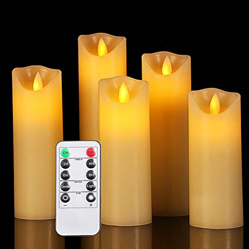 OSHINE LED Kerzen, led kerzen flackernde flamm:Φ 5.5CM x H 12CM 15CM 17CM 20CM 22CM Set von 5 echten Wachs-Säule Nicht Kunststoff mit 10-Tasten Fernbedienung Timer 300+ Stunden