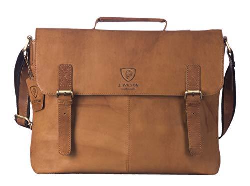 J WILSON London - Designer Genuine Real Distressed Vintage Hunter Leather 15' Laptop Handmade Unisex Crossover Shoulder Messenger Briefcase Bag (Distressed Tan)